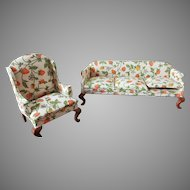 Vintage Sonia Messer Dollhouse Couch Sofa and Wing Chair, Strawberry Upholstery