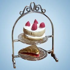 Artisan Sterling Silver Dollhouse Two Tier Cake Server