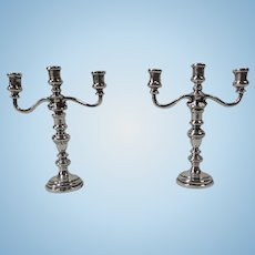 Set of 2 Heavy Sterling Silver Dollhouse Candelabras, Convertible