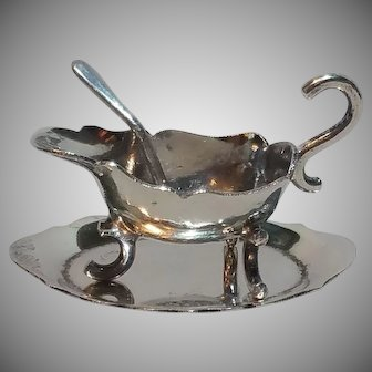 Vintage Dollhouse Sterling Silver Gravy Boat w/ Platter, Currier & Roby