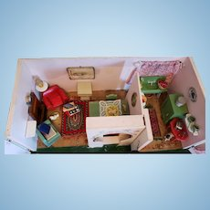 Vintage Scottish Cottage Dollhouse, Fully Furnished and Accessorized