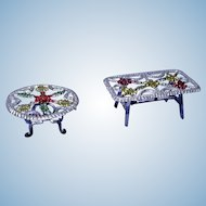 Pair of Vintage Smaller Scale Soft Metal Filigree Tables