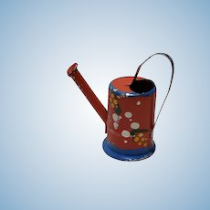 Vintage Dollhouse Red Metal Watering Can