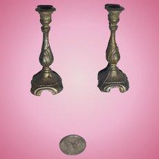 Ornate Metal Dollhouse Candlesticks