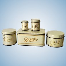 Large Scale Dollhouse or Doll Tin Canister Set