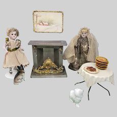 Antique Tin and Soft Metal Dollhouse Fireplace