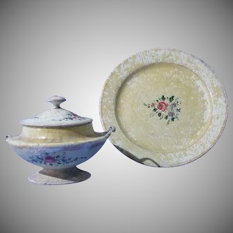 Treenware Tureen and Platter, Hand Painted