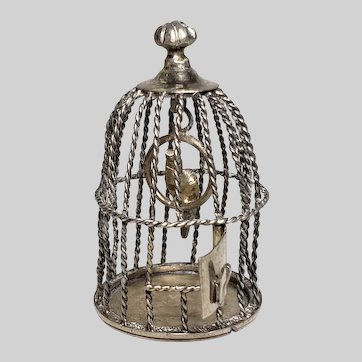 Finely Made Vintage Silver Dollhouse Table Top Birdcage