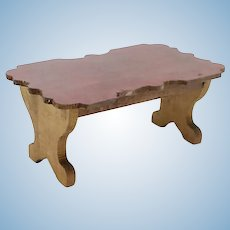 Antique German Waltershausen Red Stain Dollhouse Table or Writing Desk