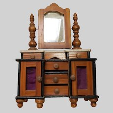 Exceptional Mid 19th C. Waltershausen Dollhouse Cabinet
