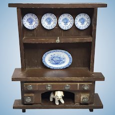 Vintage Dollhouse Welsh Cupboard With Artisan Dishes