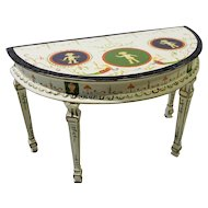 Artisan Jia Yi Paint Decorated Demilune Dollhouse Table
