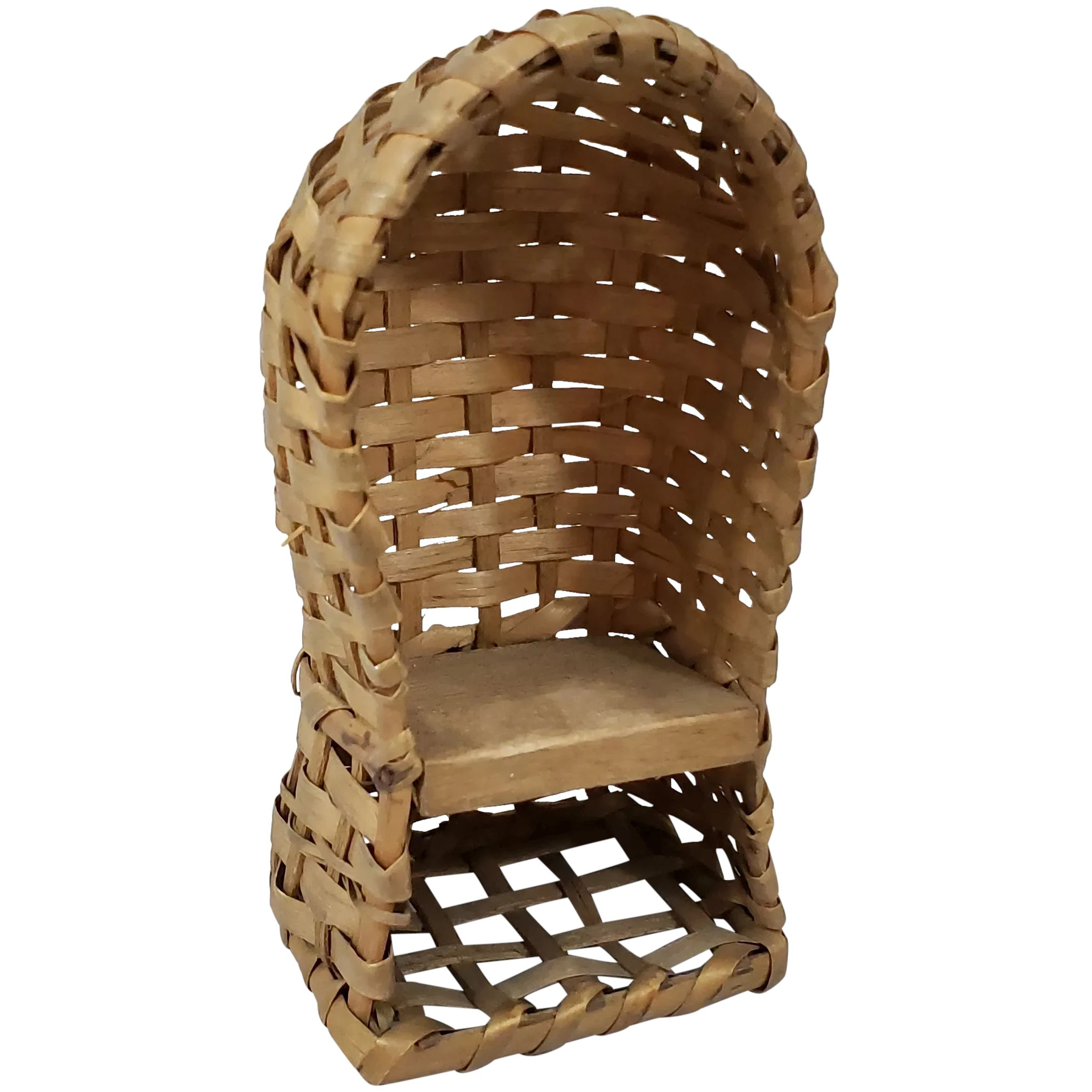 Rare Dollhouse Sized Wicker Hooded Bath Chair