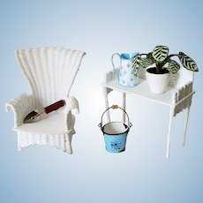 Artisan Made Dollhouse Wicker Garden Furniture With Accessories
