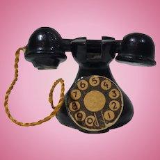 Vintage Dollhouse Black Wood Phone, Paper Dial
