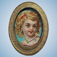 Framed Antique Litho Scrap of Young Girl