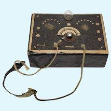 Vintage Miniature Ham Radio, Metal Headset