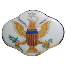 Mid 1800's Ching Qing Dynasty Lowestoft Porcelain Trinket Box, American Flag and Eagle Crest