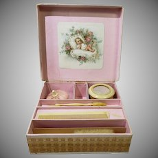 Lovely Antique Baby's or Baby Doll Toilette Set Swans Down Puff