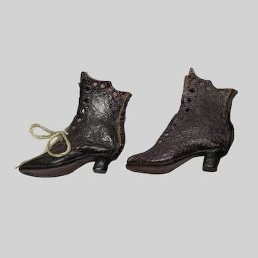 Wonderful Antique Black Leather Fashion Doll High Top Boots