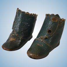 Nice Pair of Antique Fashion Doll Boots Rare Blue Color
