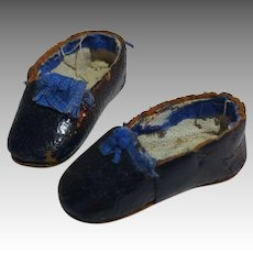Small Royal Blue Antique Doll Shoes