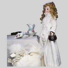19th Century Brown Leather Fashion Doll Purse