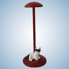 Vintage Turned Wood Doll Sized Hat Stand China Cat On Base