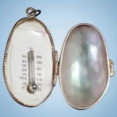 Antique Thermometer In Mother Of Pearl Casket, Fashion Doll Accessory