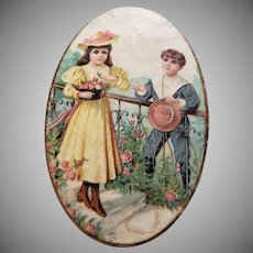 Sweet Miniature Box Litho of Two Children