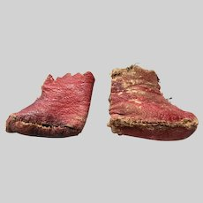 Antique Red Leather Doll Boots