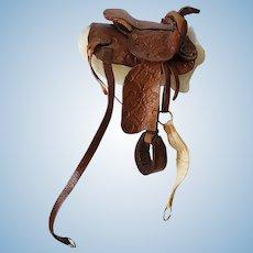 Vintage Artisan Hand Tooled Leather Saddle Fashion Doll Accessory