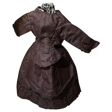 Antique Chocolate Brown Silk Suit for Smaller Fashion Doll