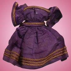Tiny Antique Purple Silk Dress for Mignonette