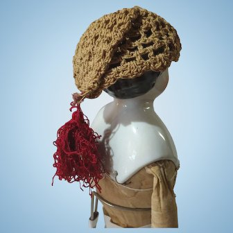 Antique Crocheted China Doll Stocking Cap With Scarlet Tassel