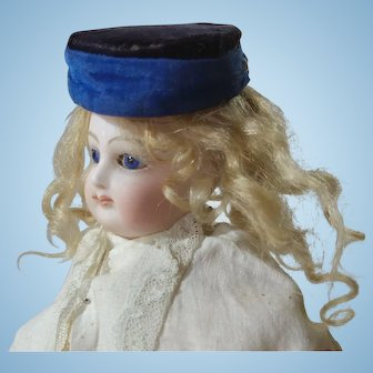 Antique Fashion Doll Accessory Velvet Pillbox Hat