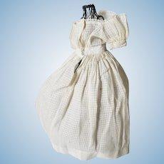 Lovely Antique Fashion Doll Dress Windowpane Cotton