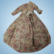 Antique Floral Challis Wool Dress for a Fashion Doll
