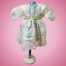 Sweet Handkerchief Cotton Doll Dress With Green Sash