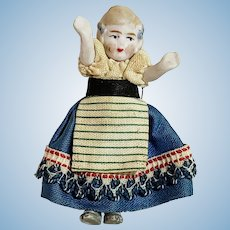 Jointed Bisque Dollhouse Child Pristine Original Outfit