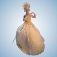 Vintage Bisque Pincushion Half Doll, Gorgeous Face