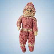 Vintage Cloth Doll in Pink Crocheted Outfit