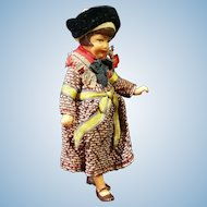 """4"""" Dollhouse Doll In Original Provincial Outfit- Gorgeous Face!"""