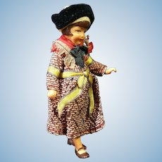 "4"" Dollhouse Doll In Original Provincial Outfit- Gorgeous Face!"