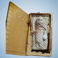 Amazing Antique Swaddled Baby Pop Up Squeak Toy In Wooden Box
