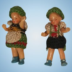 """2 Tiny Hertwig Painted Bisque Dolls 1 3/4"""" In Original Outfits"""