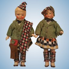 """Hertwig 4"""" Dollhouse Doll Twins In Scottish Outfits"""