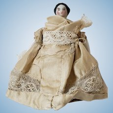 "3- 1/2"" Antique China Doll Dressed In Handmade Silk Outfit"