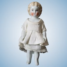 "Sweet 4.5"" Antique Blonde German Frozen Charlotte, Dressed"