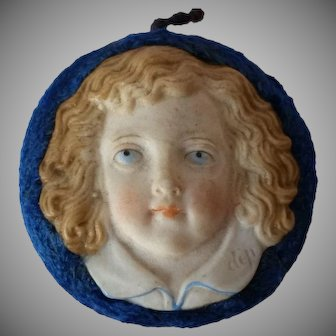 Raised Bisque Victorian Girl's Face Ornament or Pincushion